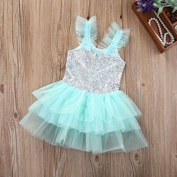 2-7Y 2017 summer dance sky blue cute Sequins Children Girls Kid Toddler Baby Flower Princess Party Tulle Tutu Dress Cake Dress