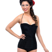 Vintage 1950s Style Pin Up Black Ruched Sheath One Piece Swimsuit