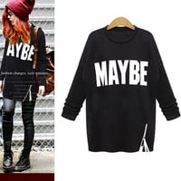 Womens Hoodie Printed Letter Sweatshirt Ladies Long Sleeve Tracksuit Plus Size