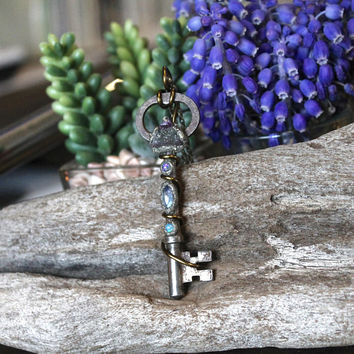 Gemstone & Skeleton Key Necklace w/ Fluorite, Opals, Rainbow Moonstone, Wiccan Jewelry, Hippie Style Pendant, Boho Chic Festival Fashion