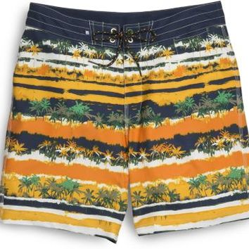 Sperry Top-Sider Hawaiian Striped Board Short Orange/Navy/FloralStripe, Size 34  Men's