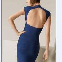 Starry hollow in back bandage dress blue