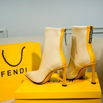 FENDI womens 2020 new office Logo-embossed leather Fashion Sports Elastic Stocking Ankle Short Boots high heels shoes beige
