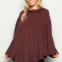 Sweet Mello Wide Turtle Neck Brushed Knit Poncho