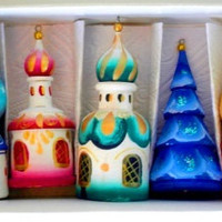 Churches Christmas ornaments set of 5 traditional russian art curved painted hand collectible decorative holiday birthday gift wood linden