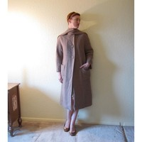 Vintage 60s MOD Coat with Attached Fringe Scarf. Tan Basket Weave. Size S to M.