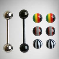 14 Gauge Black Rasta Barbell with Extra Balls