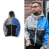 Sports Casual Jacket Print Pullover Hats Windbreaker [272617504797]