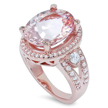 9.00CT Morganite & Diamond Engagement Ring 14K Rose Gold Halo Split Shank