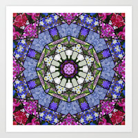 Garden mosaic - soft blue, white and rose Art Print by RVJ Designs
