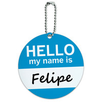Felipe Hello My Name Is Round ID Card Luggage Tag