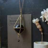 himmeli necklace • crystal cage black agate necklace - caged crystal necklace - witch jewelry - geometric pendant - black crystal
