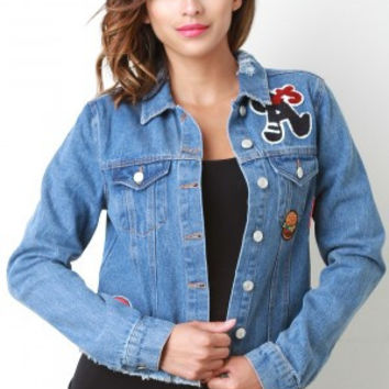 A Distress Patch Denim Jacket