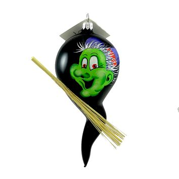 Laved Italian Ornaments Green Faced Witch Ghost Halloween Glass Ornament