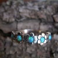 "925 Sterling silver Blue Opal ""Forget Me Not"" Ring"