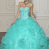 Beaded Organza Quinceanera Dress by Mori Lee