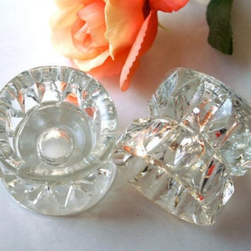 Crystal Candle Holders Pressed Cut Glass