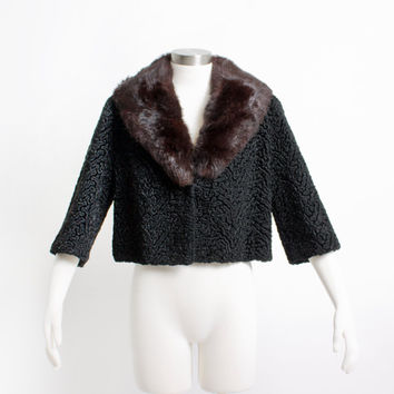 Vintage 50s Cropped Jacket - Rabbit Fur + FAUX Persian Lamb Coat 1950s - Medium