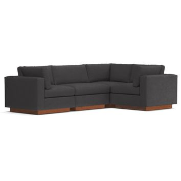 Taylor Plush 4pc Modular L-Sectional Sofa in PEWTER - CLEARANCE