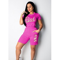Victoria's Secret Pink Sequins Summer Stylish Women Casual Short Sleeve Set Two-Piece Sportswear Rose Red