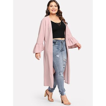 Plus Bell Sleeve Duster Coat