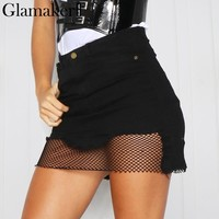 Glamaker Mesh patchwork denim skirt Irregular a-line denim women skirt female Sexy slim bodycon jeans skirt mini skirt party