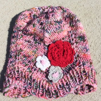 Knit Baby Hat with Flowers, Newborn Knit Hat