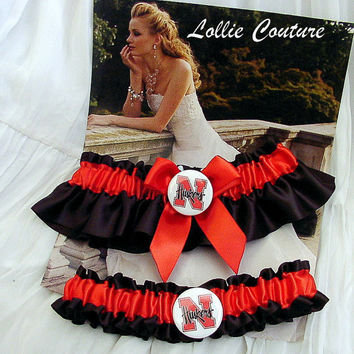 Nebraska HUSKERS Garters  2 piece set by lolliecouture on Etsy