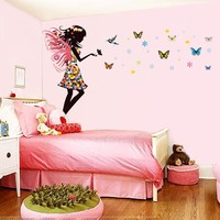 Butterfly Fairy Girls Wall Sticker Nursery Baby Bedroom Self Adhesive Vinyl Art Mural Home Decor For Kids Gift