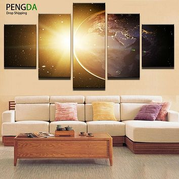Canvas Art Wall Picture Home Decoration Living Room 5 Panel Earth Landscape Canvas Print Modern Oil Painting Modern Paintings