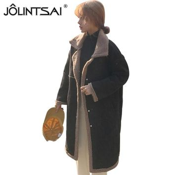 JOLINTSAI 2018 Winter Women Coats Lamb Wool Corduroy Female Jacket Long Sleeve Turn Down Collar Warm Winter Coat Streetwear