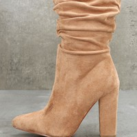 Paolina Nude Slouchy High Heel Mid-Calf Boots