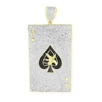 Ace Of Spades Pendant Yellow Gold Finish Simulated Diamonds Custom Charm
