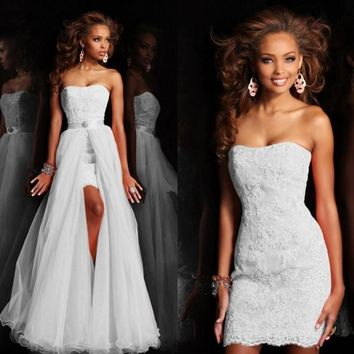 New Design High Low Short Strapless Pure White Wedding Dress Bridal Gown With Detachable removeable Skirt crystal lace Sequin