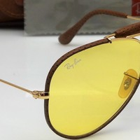 Ray Ban RB3422Q 9042/4A Gold & Brown Leather Photochromic Aviator Sunglasses NEW
