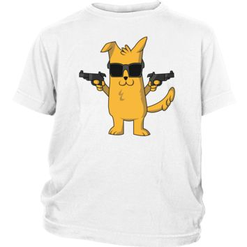 Kid's Dog with Gun T-Shirt - Funny Dog Lovers Gift
