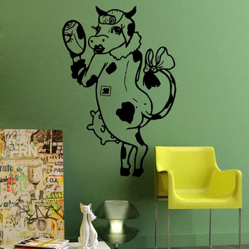 Wall Decals Vinyl Decal Sticker Art Mural Decor Girl Cow With A Mirror Kj1002