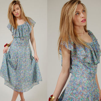 Vintage 70s Blue FLORAL Sun Dress RUFFLE Capelet Midi Dress