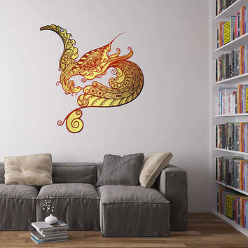 kcik518 Full Color Wall decal gold peacock bird living room bedroom