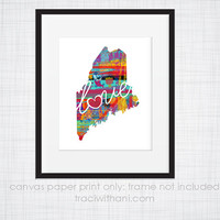 Maine Love - ME Canvas Paper Print:  Grunge, Watercolor, Rustic, Whimsical, Colorful, Digital, Silhouette, Heart, State, United States
