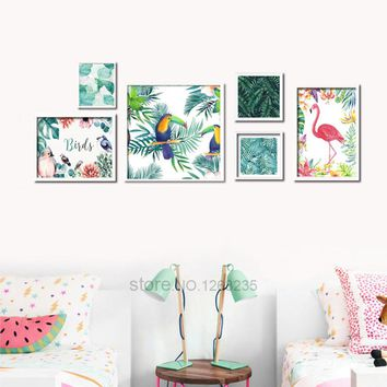 Rainforest Flamingo Bird Flower Posters And Prints Nordic Poster Wall Picture Canvas Art Wall Pictures For Living Room Unframed