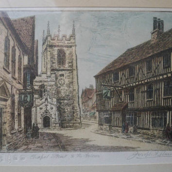 Fine Art Etching by Joseph F Pimm (1900-1972) - Chapel Street and The Falcon - Limited edition - Shakespeare's Stratford-on-Avon