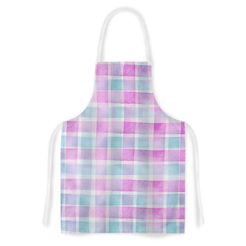 "Michelle Drew ""Watercolour Checked Tartan Sin"" Magenta Plaid Artistic Apron"