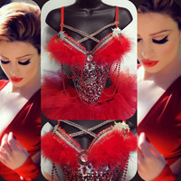 32B/ small- Red NYE 2016 Glam New Years Outfit: rave bra, rave wear, festival, cosplay
