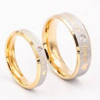 ONETOW Fashion Ring Womens Mens Jewelery Forever Love 18K Gold Titanium Couple Rings Jewlery Charm Diamond Ring Vintage Promise Ring Su