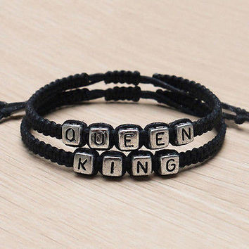 Couple Handmade Bracelets King & Queen His Hers Charm Bracelet Bangle Gift