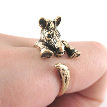 3D Zebra Shaped Animal Wrap Around Ring in Shiny Gold | US Sizes 4 to 9
