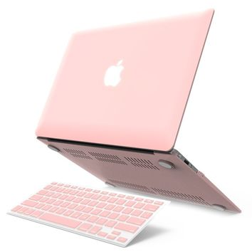 "iBenzer Basic Soft-Touch Series Plastic Hard Case & Keyboard Cover for Apple Macbook Air 13-inch 13"" A1369/1466 (Rose Quartz)"