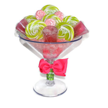 Large Martini Glass Lollipop Candy Arrangement , Pink and Green Lollipop Centerpiece, Lollipop Centerpiece, Candy Centerpiece, 21st Birthday