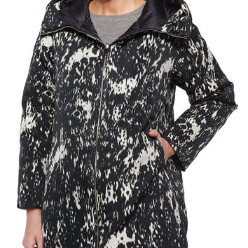 Colliers Reversible Solid/Printed Puffer Coat, Black/White, Size: